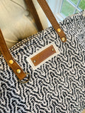 Black and White Woven and Leather Tote