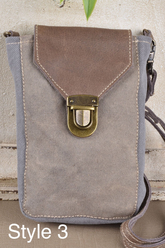 Canvas and Leather Cell Phone Bag