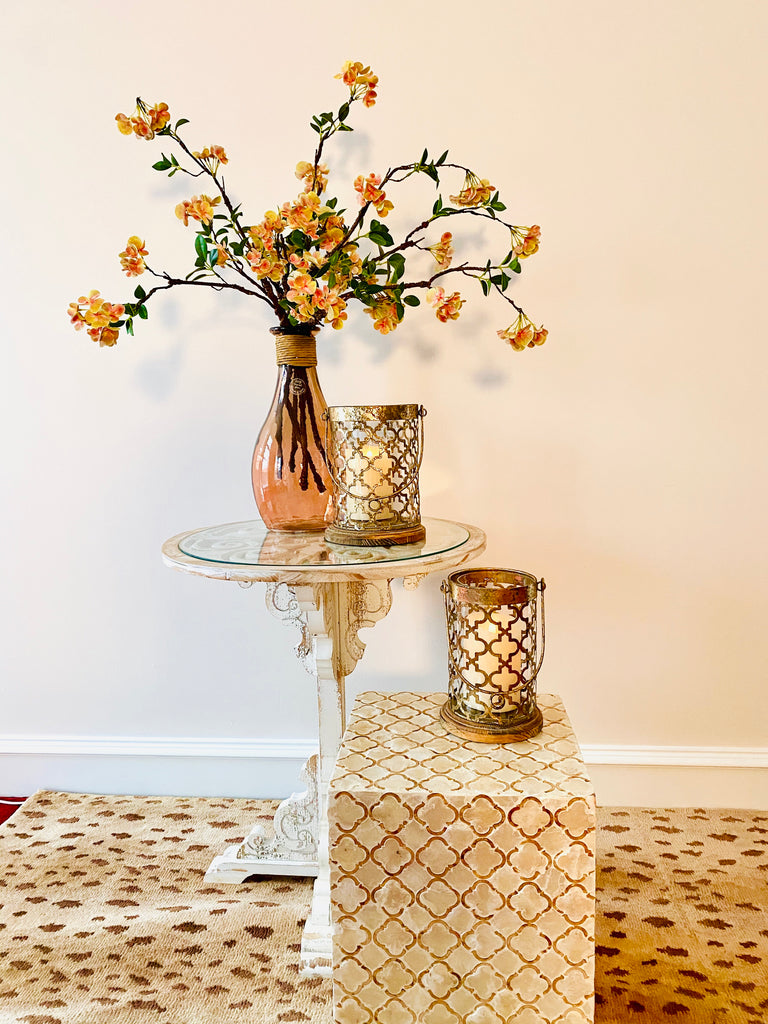 Gold and Wood Latticework Candle Holders