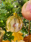 Large Dimensional Pink and Pearl Glass Ornaments