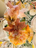 Iridescent Lace Flowers Large Glass Ornaments