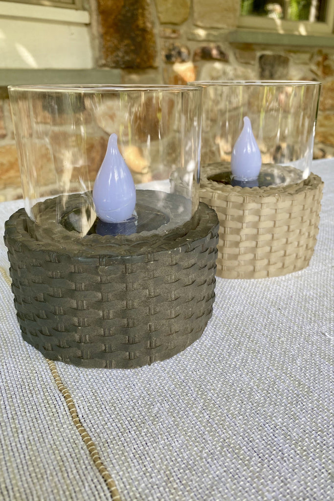 LED Solar Wicker Outdoor Flameless Candles in Anthracite