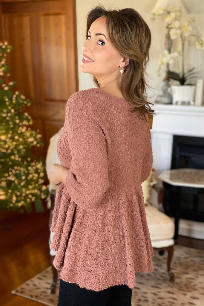 Mauve Popcorn-Textured Peplum Sweater