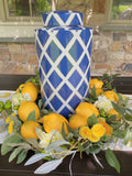 Set of 2 Royal Blue and White Crisscross Lidded Ginger Jars