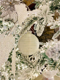 Large Dimensional Silver and White Glass Ornaments