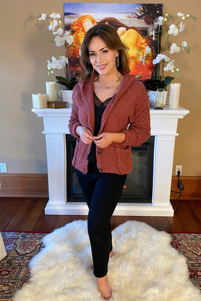 Soft and Cozy Button Down Sweater Cardigan with Hood