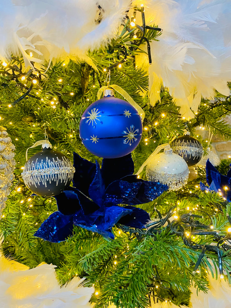 Night Blue Jeweled Band European Glass Ornaments