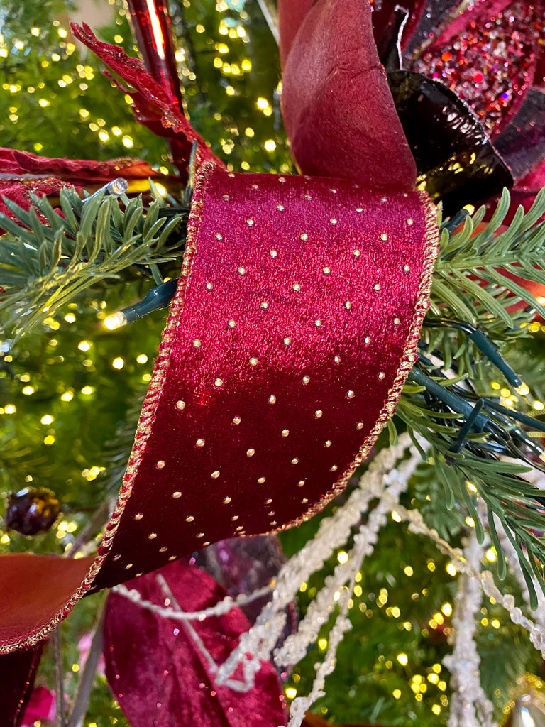 Burgundy and Gold Dotted Luxury Wired Christmas Ribbon