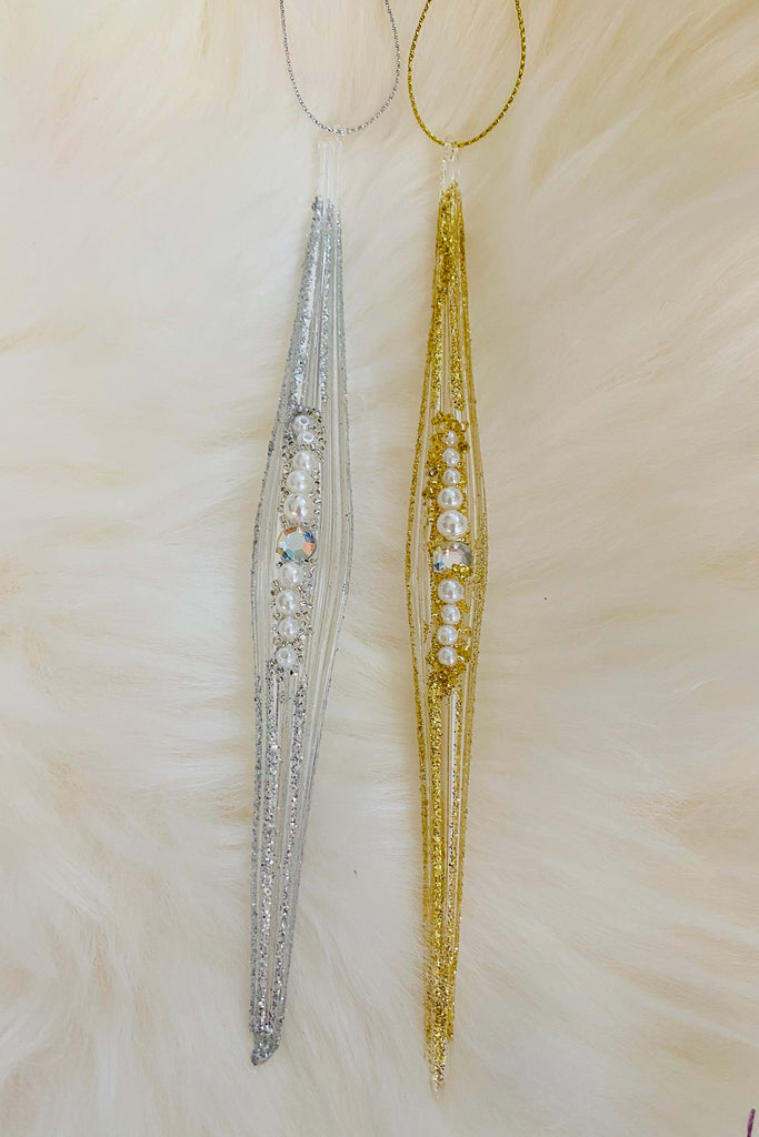 Set of 12 Beaded Glass Icicles