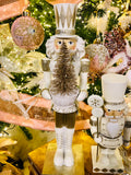 Sparkling Cream Gold and Silver Nutcracker Holding Tree