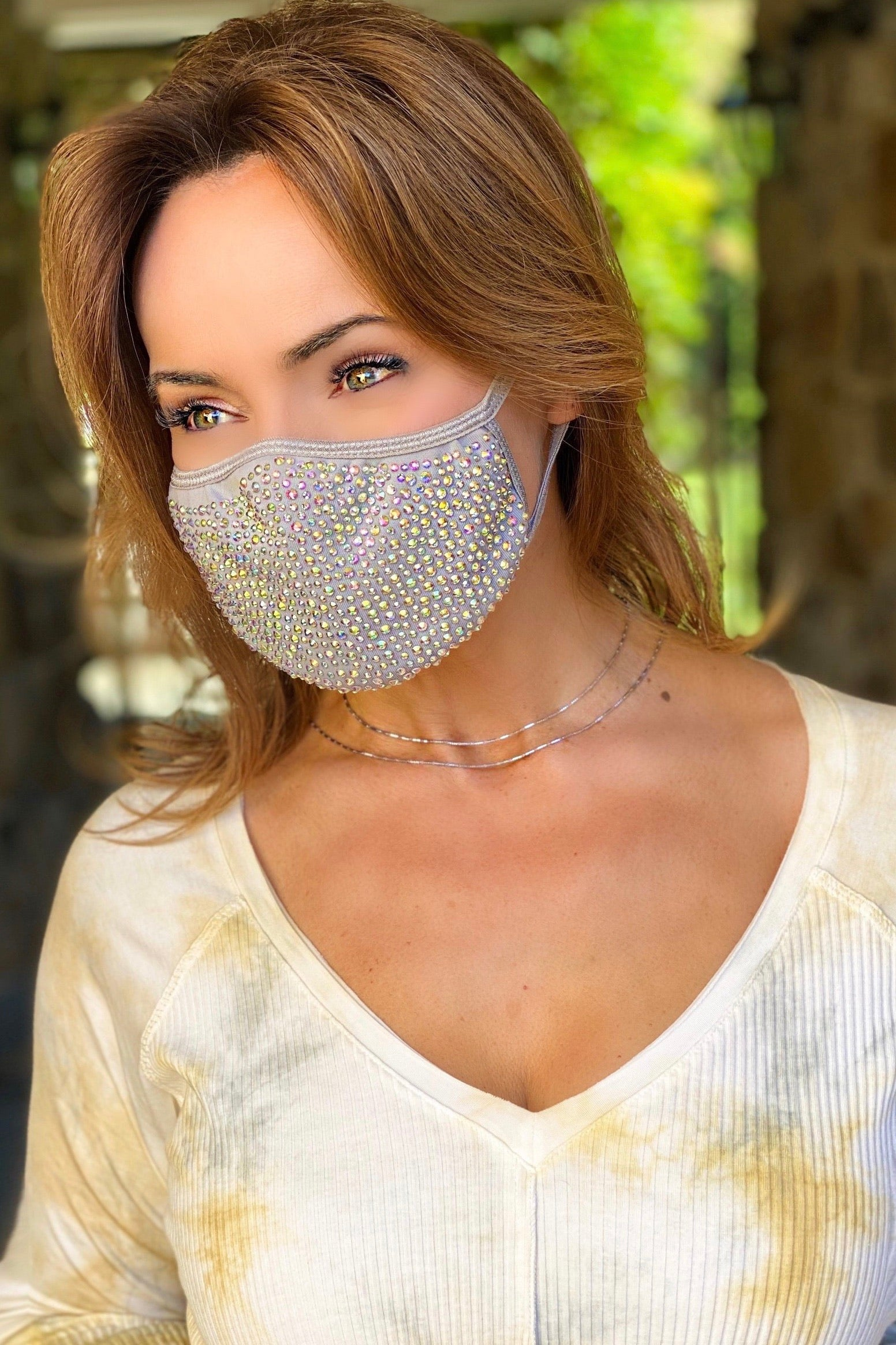 Nude Crystal Face Mask with Filter - Lisa Robertson