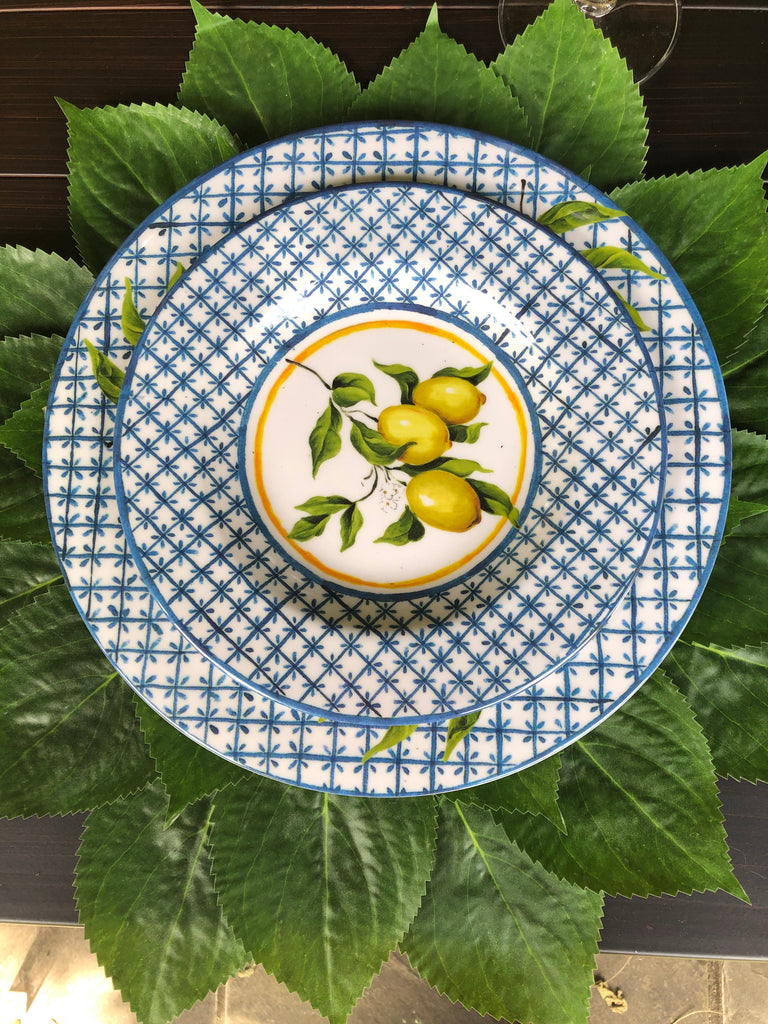 Set of 4 Lemon and Blue Lattice Indoor/Outdoor Plates
