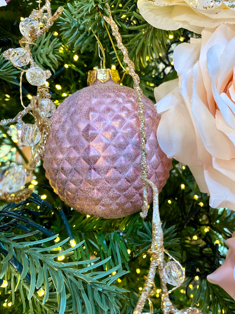 Large Dimensional Pink and Burgundy Glass Ornaments