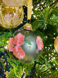 Blush Pink and Sage Green Floral Glass Ornaments
