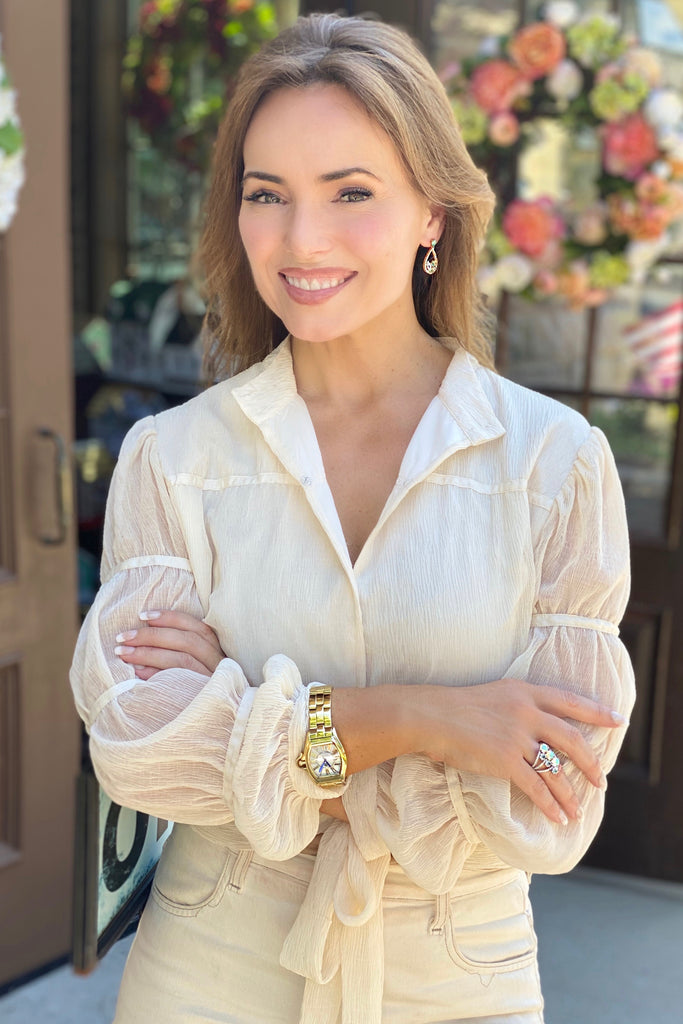 Gathered Sleeve Cream Chiffon Blouse