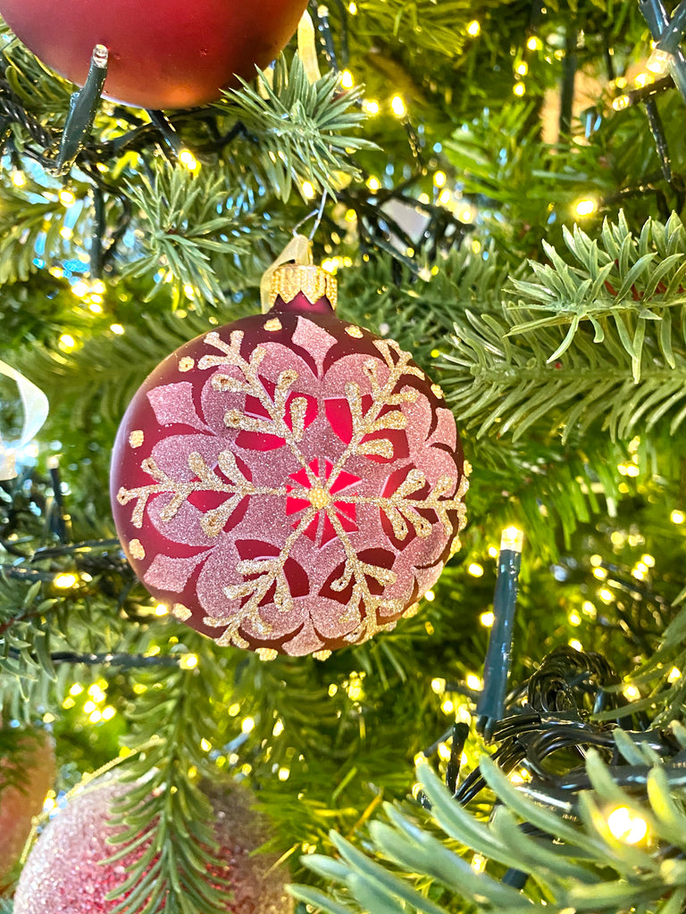 Burgundy Snowflake European Glass Ornaments