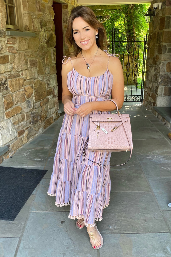 Shades of Purple Striped Maxi Dress