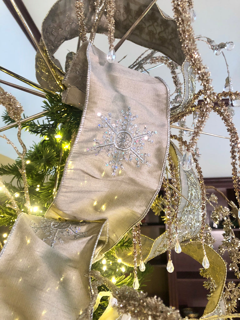 Luxury Sparkling Wired Christmas Ribbon