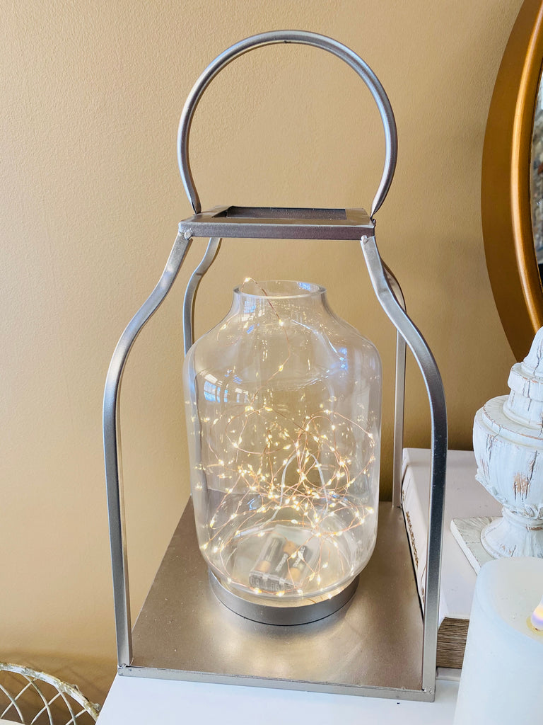 Open Curved Lantern With Glass Hurricane