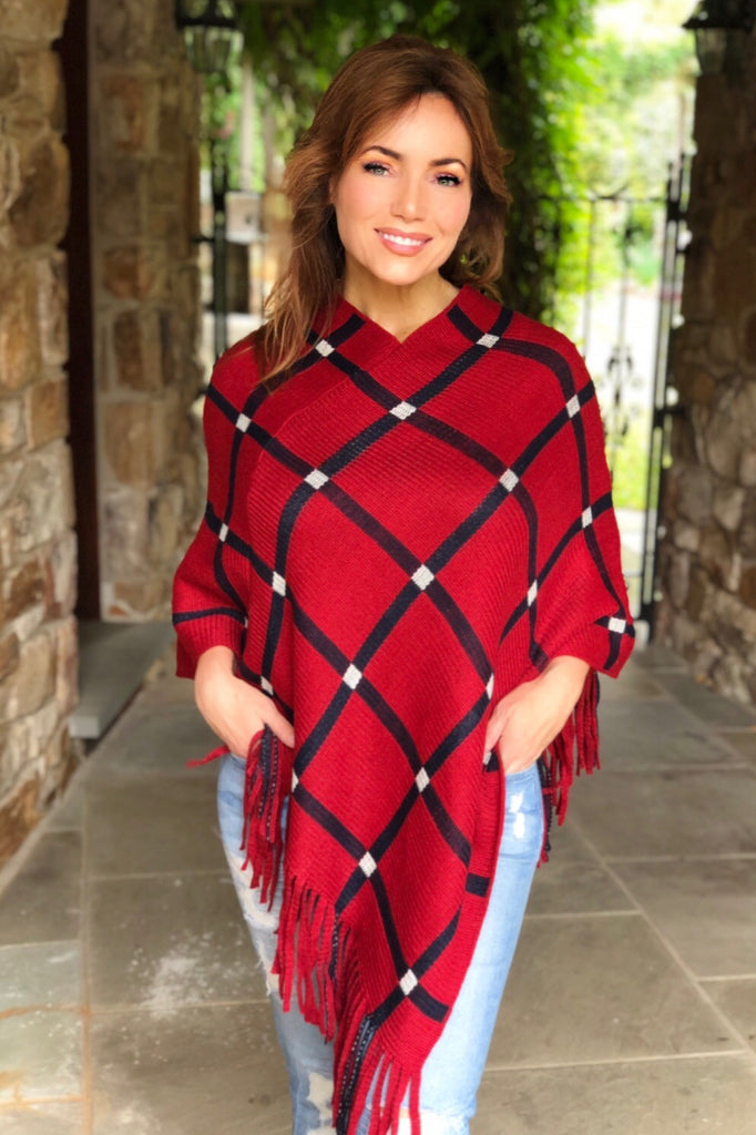 Navy and Red Equestrian Inspired Poncho