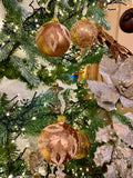 Bronze Flocked Leaves European Glass Ornaments