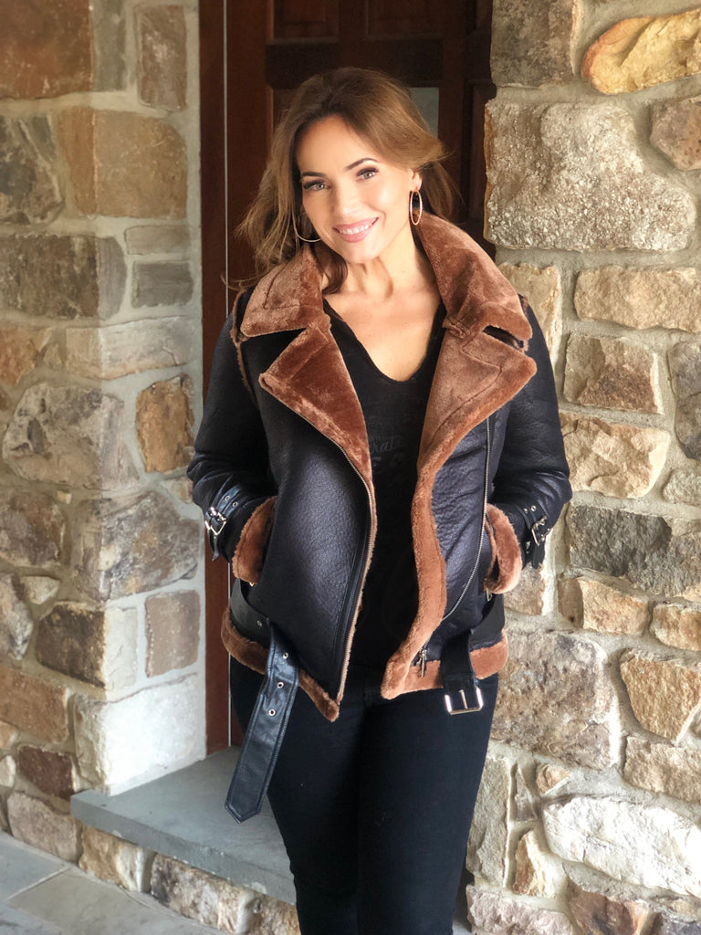 Faux Leather Moto Jacket in Black and Camel