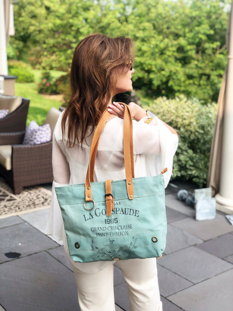 La Couspaude Leather and Canvas Tote