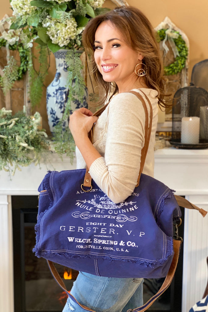Canvas and Leather Denim Weekender Bag