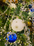 Winter White and Gold Snowflakes European Glass Ornaments