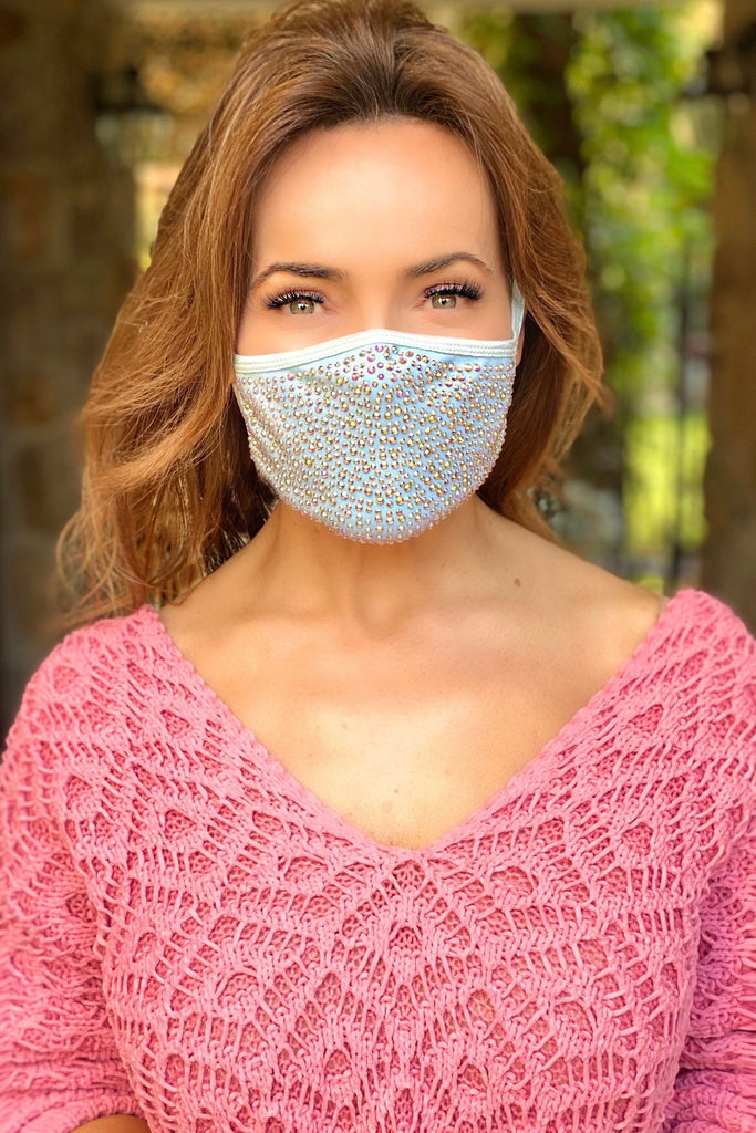 Light Blue Crystal Face Mask with Filter