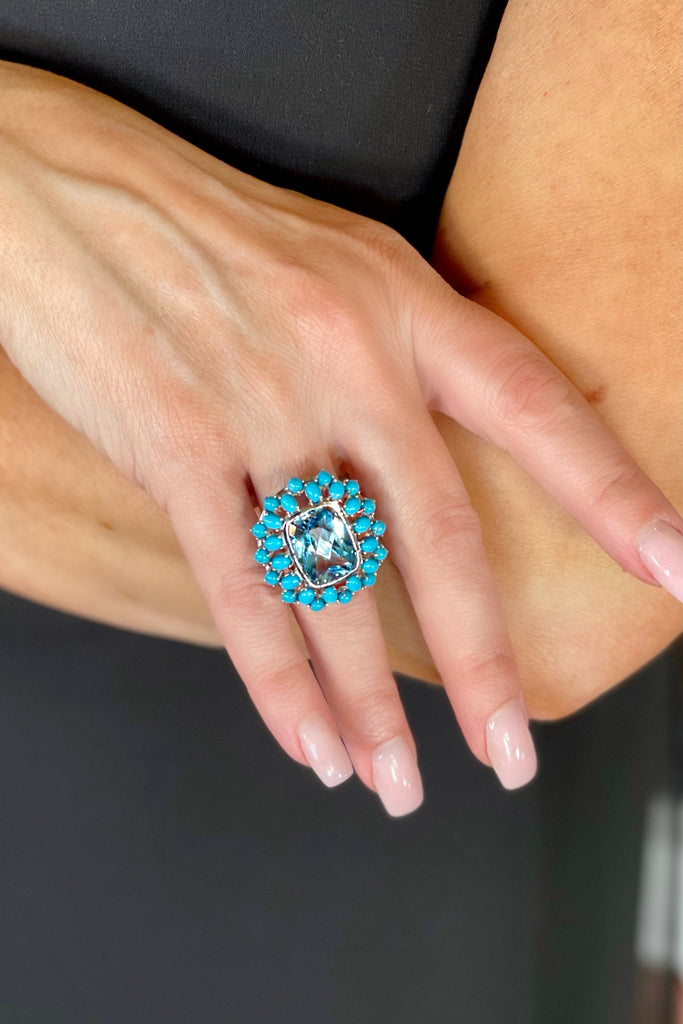 Rectangular Turquoise and Blue Topaz Ring