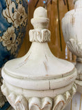 Set of 2 White Washed Finial Urns