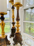 Set of 3 Resin Antique Gold & Wood Tone Candleholders