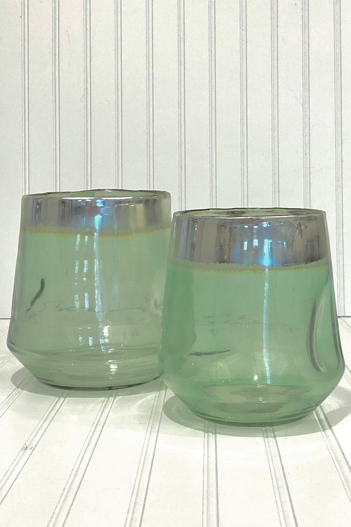 Green Glass Candle Holders