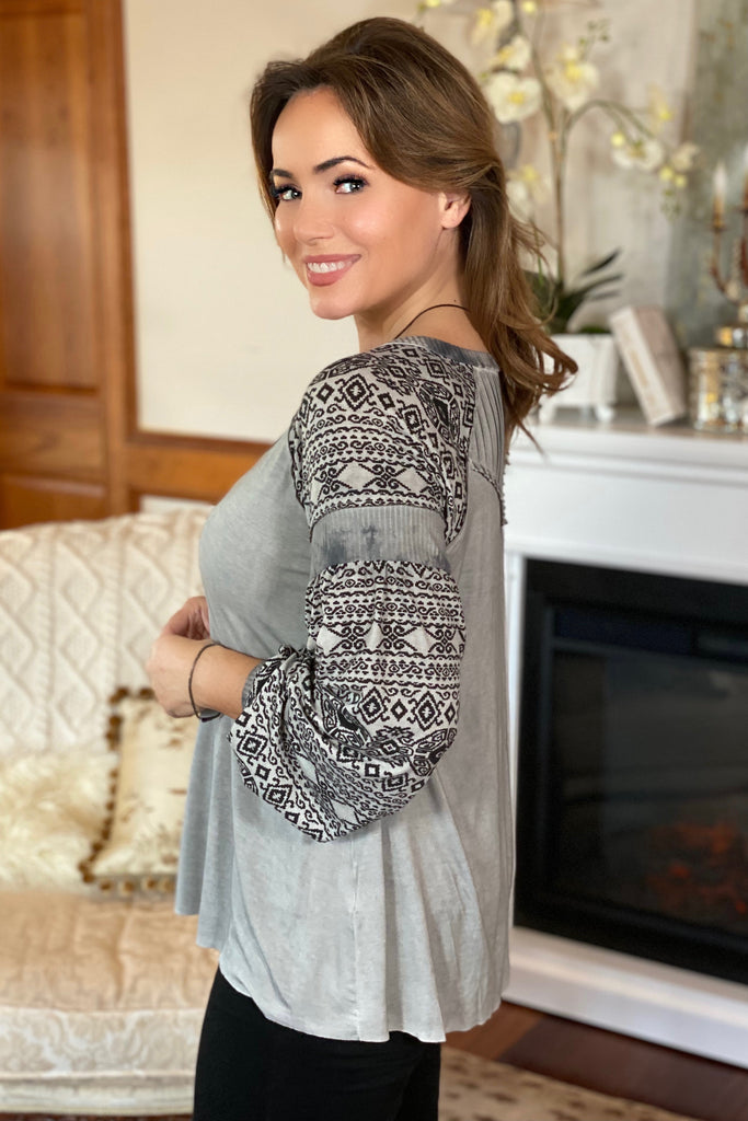 Aztec Print Knit Fabric Top in Stone Grey