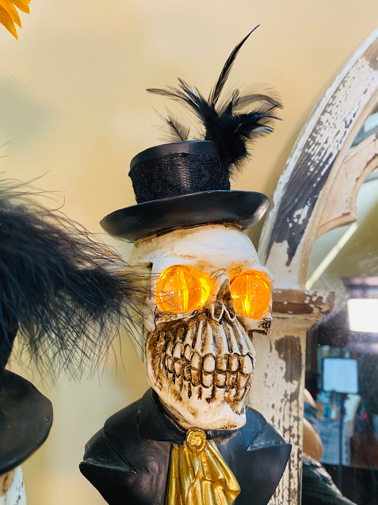 Halloween Skeleton Man Bust w/LED Eyes on Pedestal