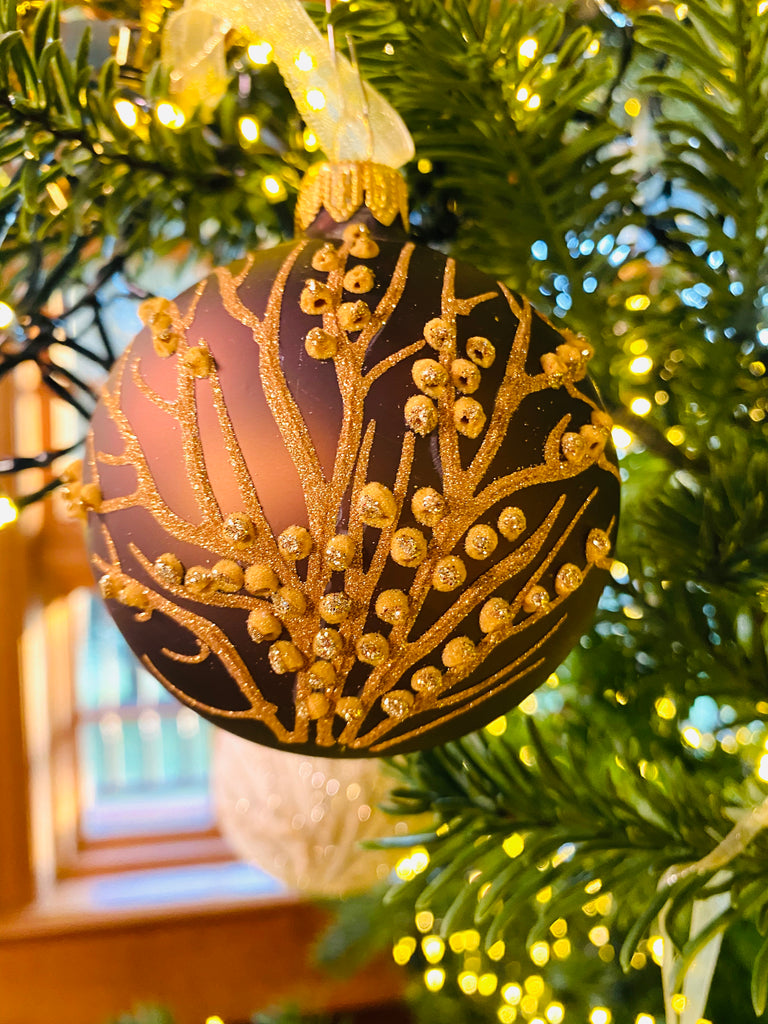 Chocolate Glittering Branches European Glass Ornaments