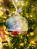 Arctic Blue and White Snowflake European Glass Ornaments