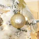 Pearl Glitter Lines Handmade European Glass Ornaments