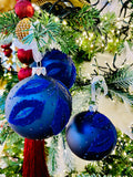 Night Blue Flocked Leaves European Glass Ornaments