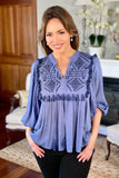 Blue Tunic Top with Embroidery Details