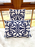 Blue and White Scrollwork Pillow