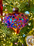 Dazzling Multicolor Embellished Red Glass Ornaments