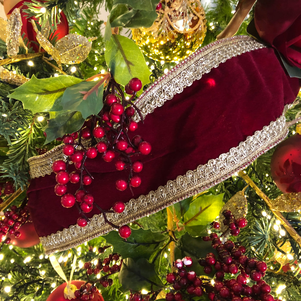 luxury burgundy and gold wired christmas ribbon - Wired Christmas Ribbon