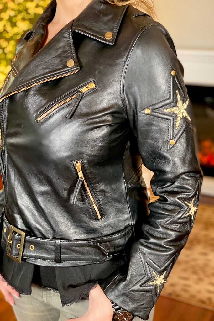 The Embroidered Stars Leather Jacket