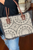 Charcoal and White Medallion Petite Tote