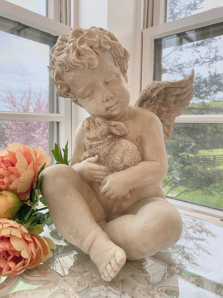 Cherub With Antique White Washed Finish