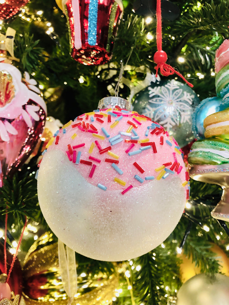 Sprinkle Topped Glass Ornaments