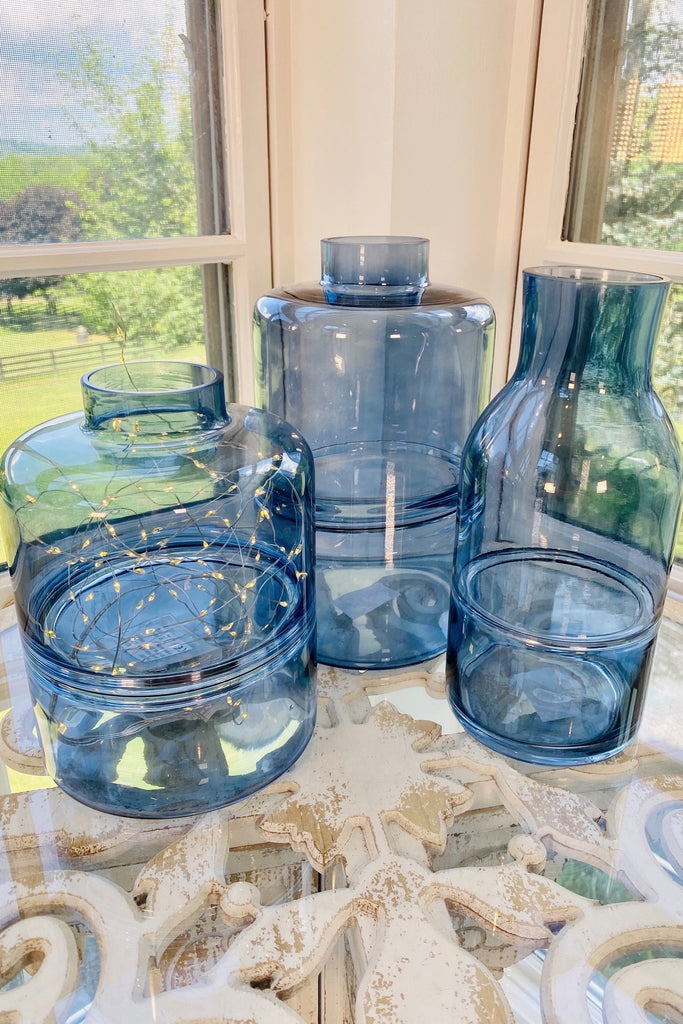 Set of 3 Blue Glass Tapered Neck Vases With Inlayed Strips