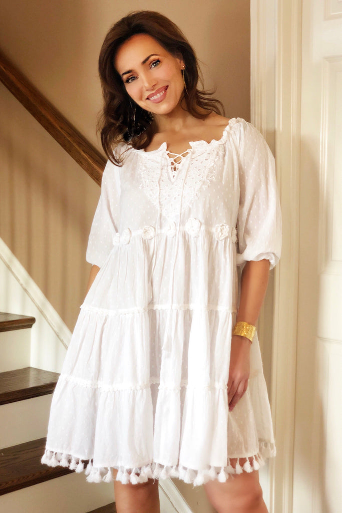 White Cotton Sun Dress